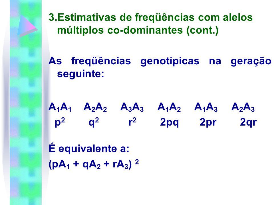 3. Estimativas de freqüências com alelos múltiplos co-dominantes (cont