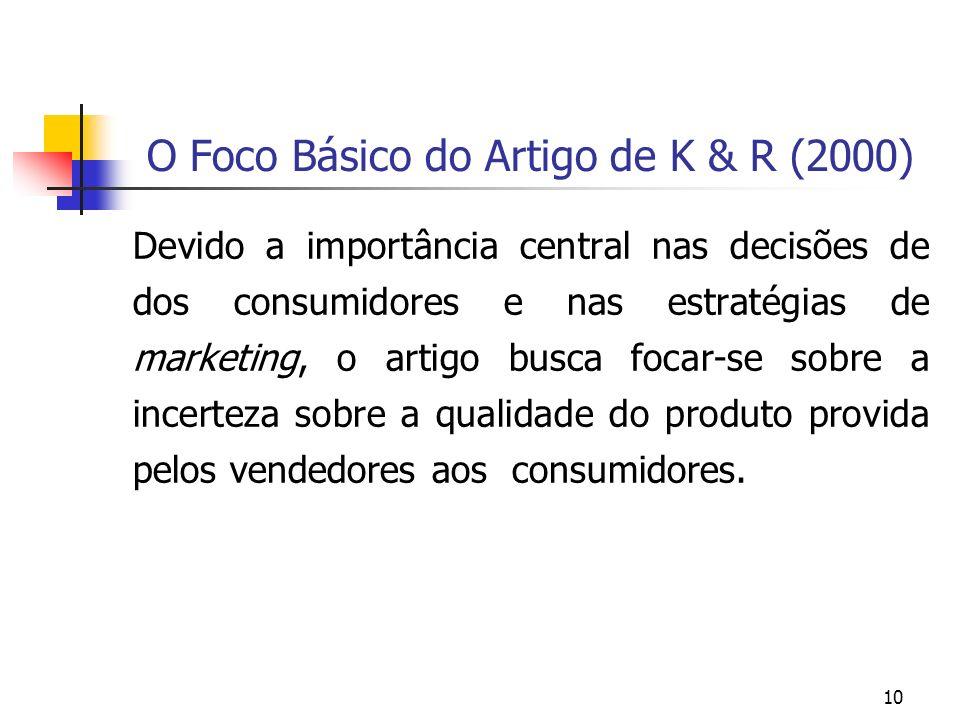 O Foco Básico do Artigo de K & R (2000)