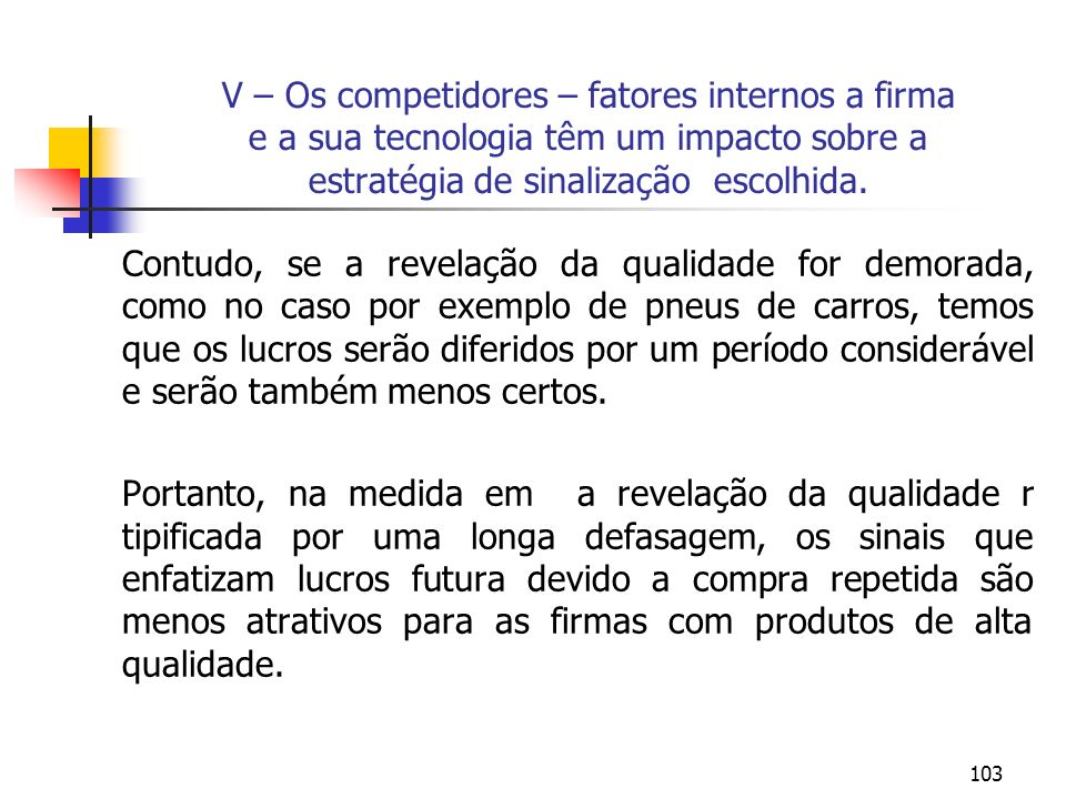 V – Os competidores – fatores internos a firma e a sua tecnologia têm um impacto sobre a estratégia de sinalização escolhida.