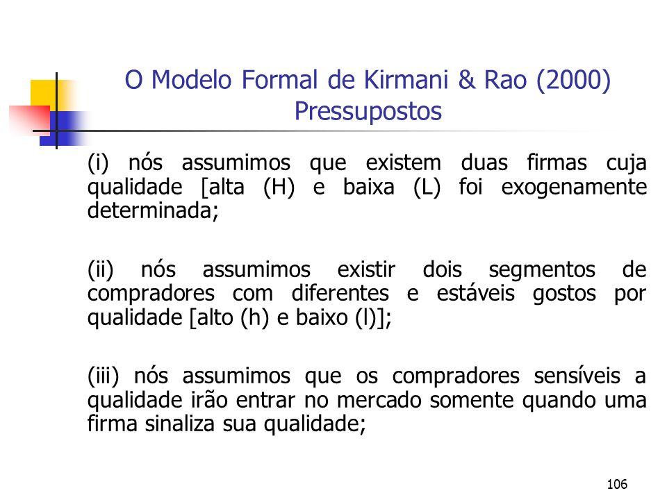 O Modelo Formal de Kirmani & Rao (2000) Pressupostos