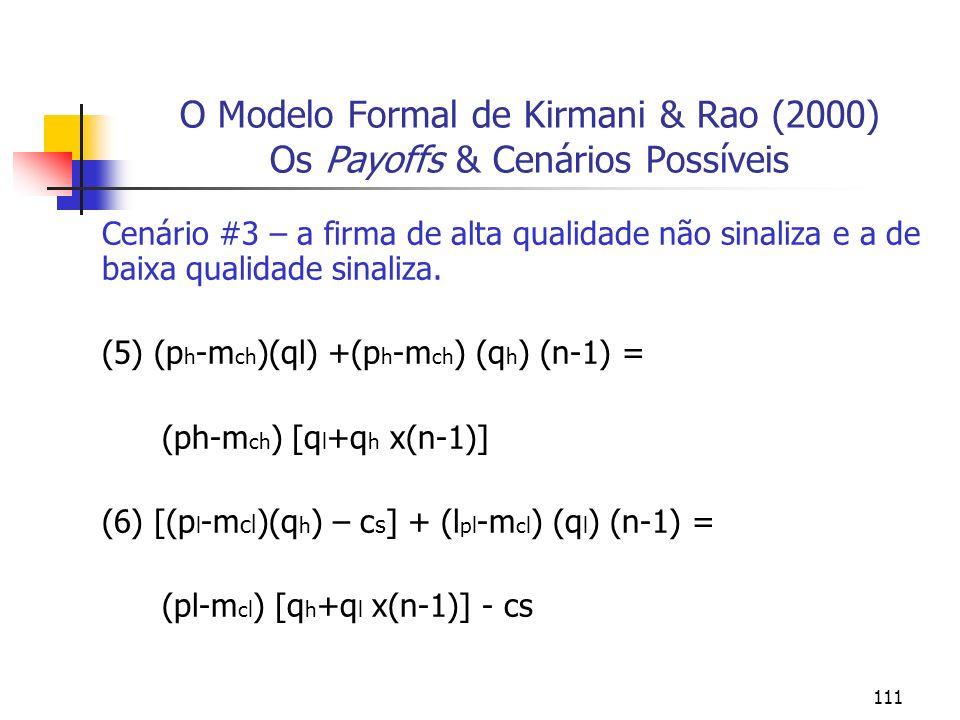 O Modelo Formal de Kirmani & Rao (2000) Os Payoffs & Cenários Possíveis