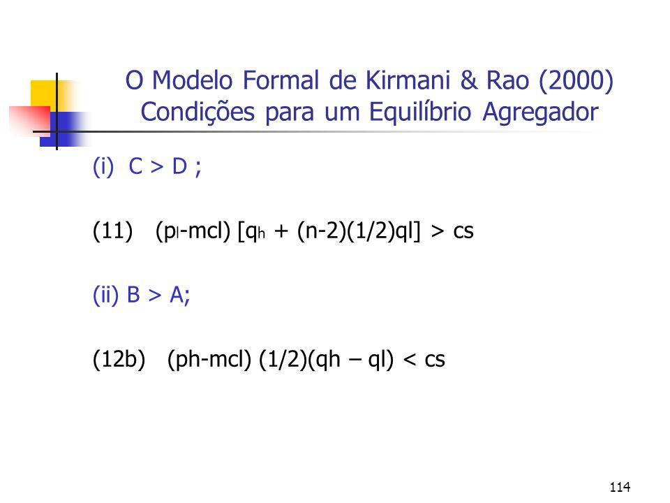 O Modelo Formal de Kirmani & Rao (2000) Condições para um Equilíbrio Agregador