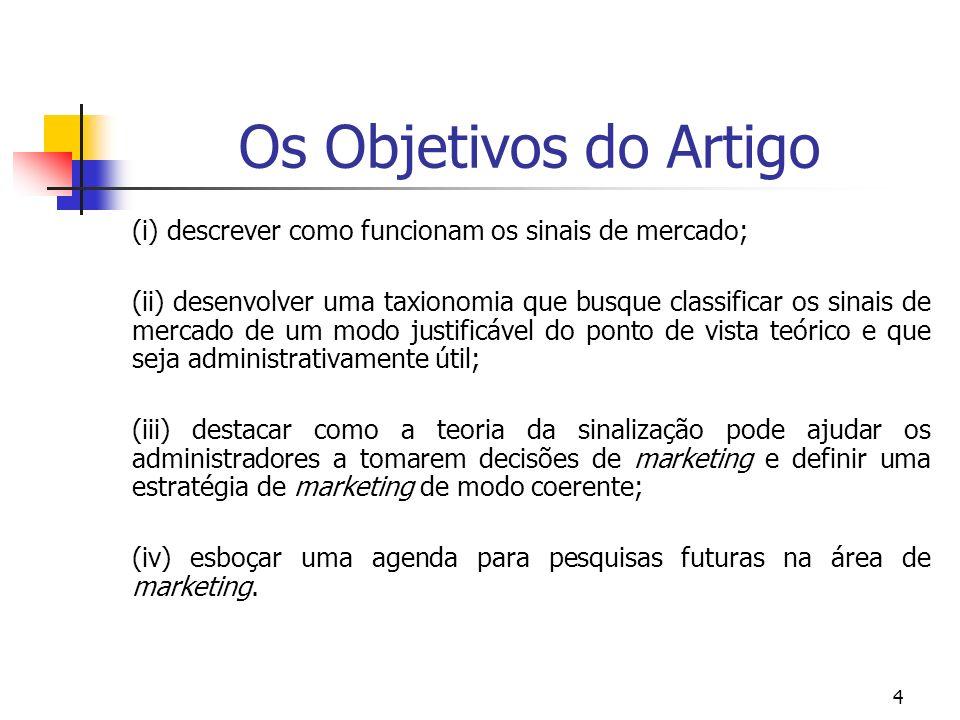 Os Objetivos do Artigo (i) descrever como funcionam os sinais de mercado;