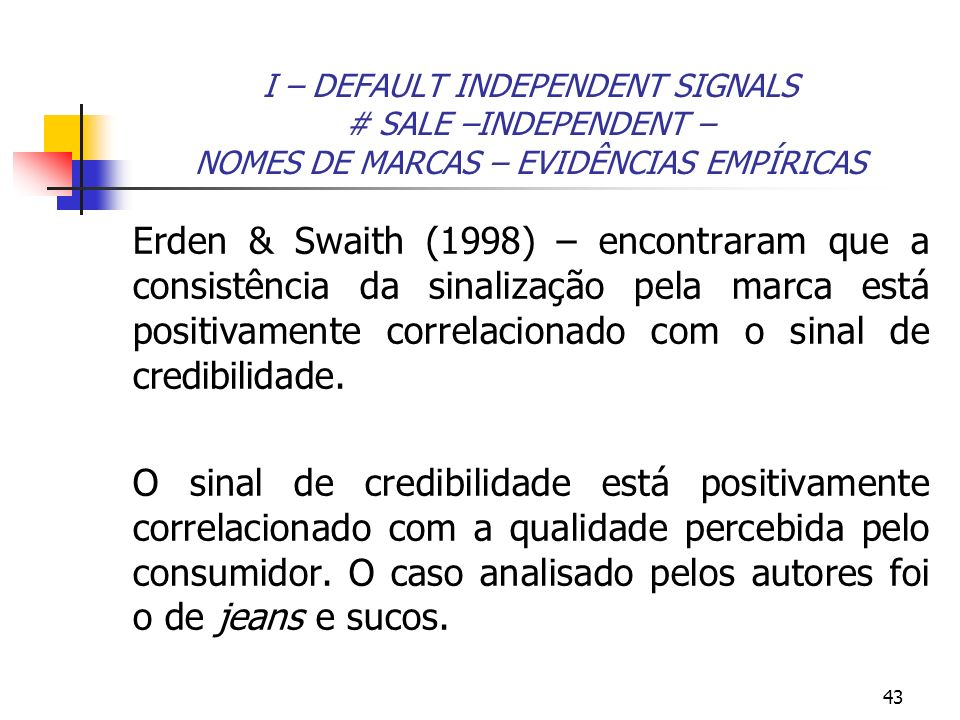 I – DEFAULT INDEPENDENT SIGNALS # SALE –INDEPENDENT – NOMES DE MARCAS – EVIDÊNCIAS EMPÍRICAS