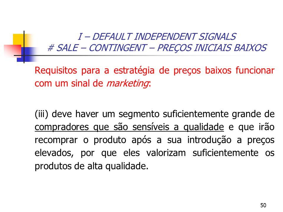 I – DEFAULT INDEPENDENT SIGNALS # SALE – CONTINGENT – PREÇOS INICIAIS BAIXOS