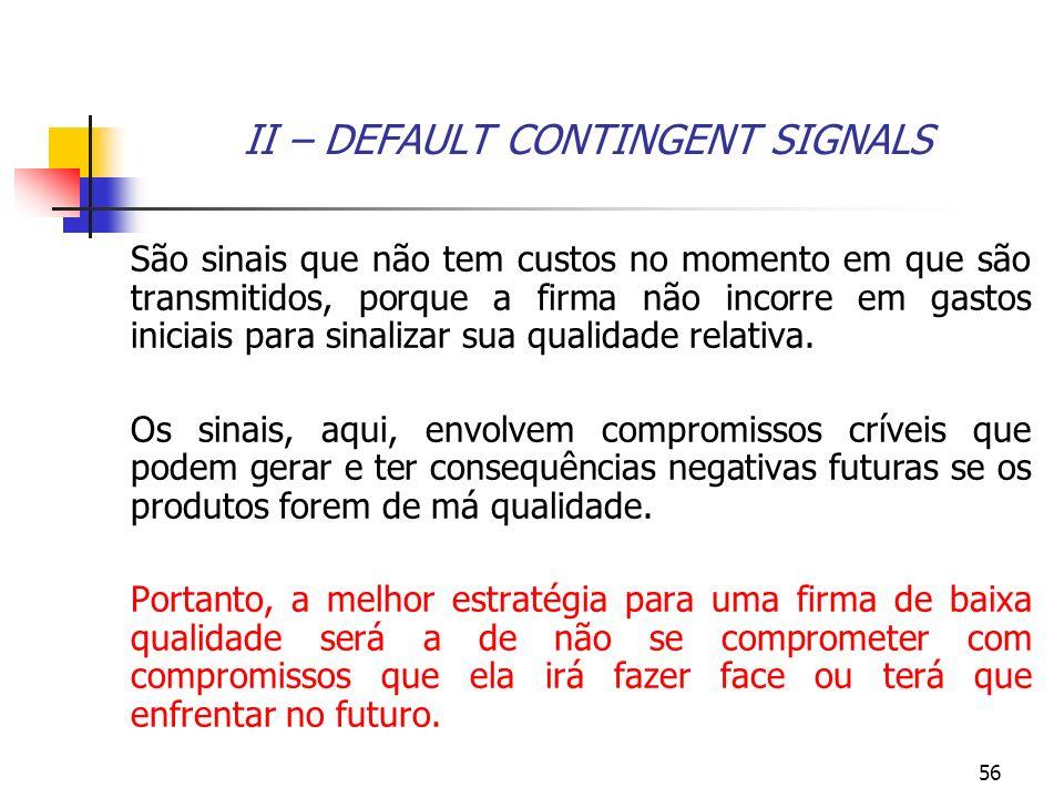 II – DEFAULT CONTINGENT SIGNALS