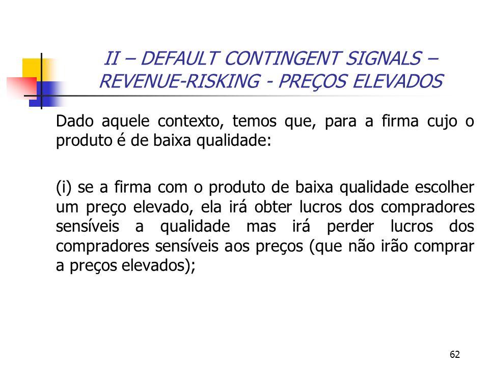 II – DEFAULT CONTINGENT SIGNALS – REVENUE-RISKING - PREÇOS ELEVADOS