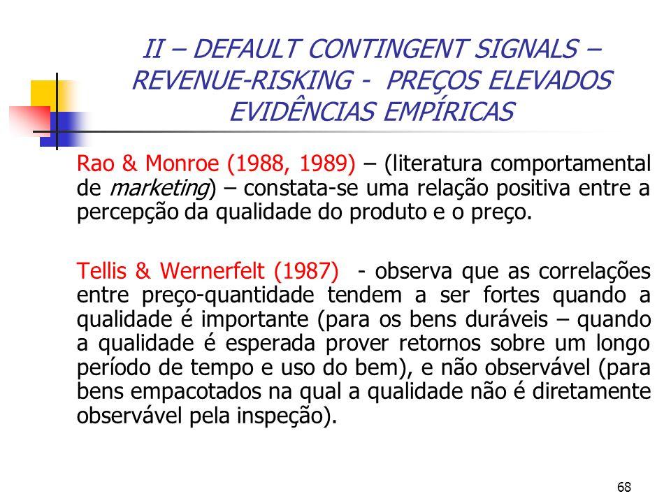II – DEFAULT CONTINGENT SIGNALS – REVENUE-RISKING - PREÇOS ELEVADOS EVIDÊNCIAS EMPÍRICAS