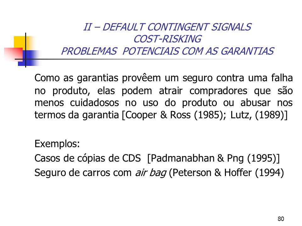 II – DEFAULT CONTINGENT SIGNALS COST-RISKING PROBLEMAS POTENCIAIS COM AS GARANTIAS