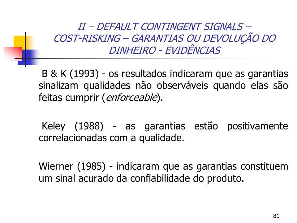 II – DEFAULT CONTINGENT SIGNALS – COST-RISKING – GARANTIAS OU DEVOLUÇÃO DO DINHEIRO - EVIDÊNCIAS