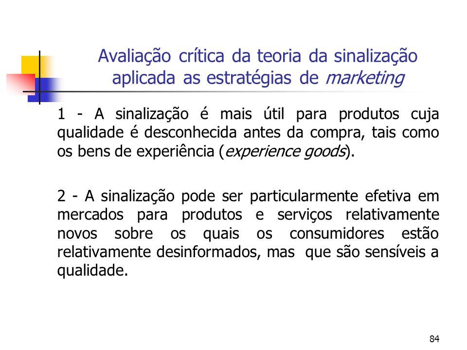 Avaliação crítica da teoria da sinalização aplicada as estratégias de marketing