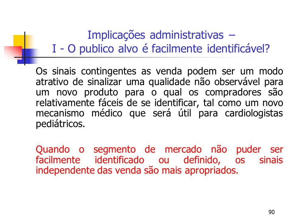 Implicações administrativas – I - O publico alvo é facilmente identificável