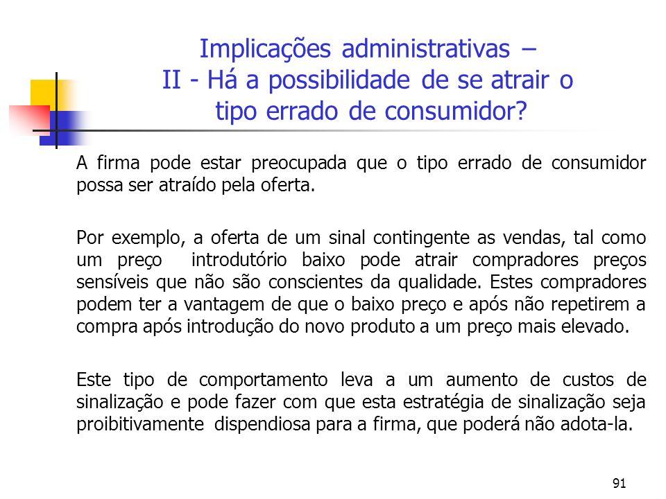 Implicações administrativas – II - Há a possibilidade de se atrair o tipo errado de consumidor