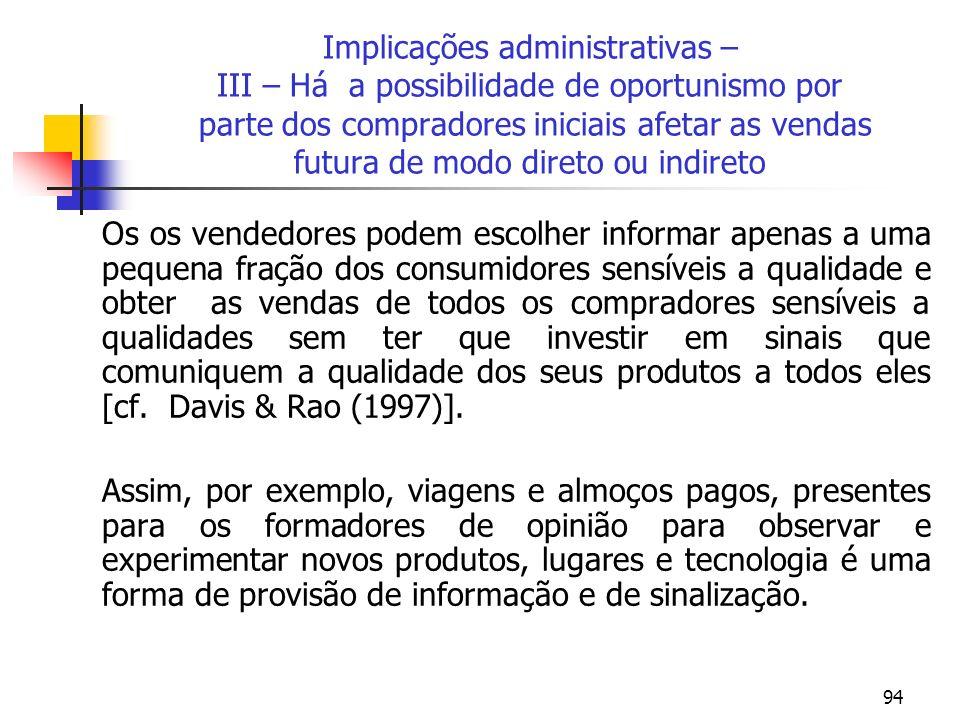 Implicações administrativas – III – Há a possibilidade de oportunismo por parte dos compradores iniciais afetar as vendas futura de modo direto ou indireto