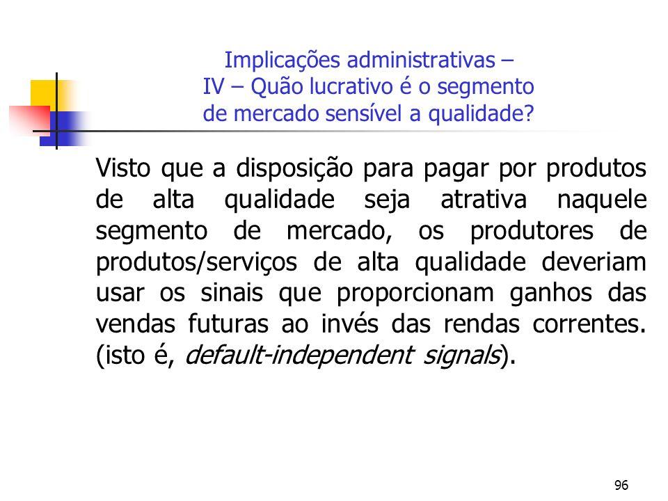 Implicações administrativas – IV – Quão lucrativo é o segmento de mercado sensível a qualidade