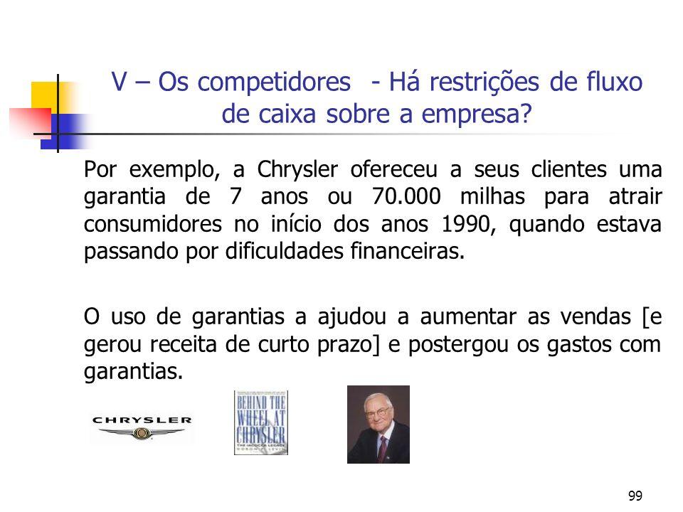 V – Os competidores - Há restrições de fluxo de caixa sobre a empresa