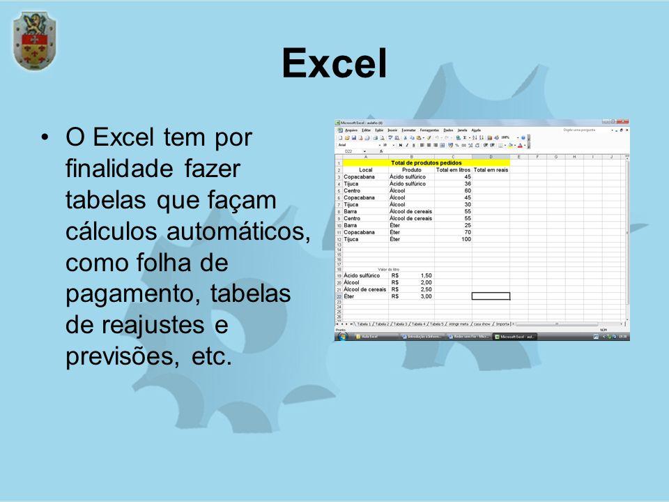 Excel O Excel tem por finalidade fazer tabelas que façam cálculos automáticos, como folha de pagamento, tabelas de reajustes e previsões, etc.