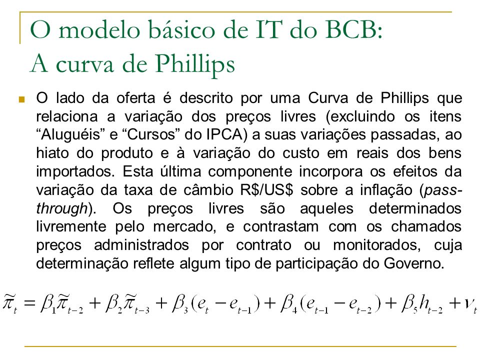 O modelo básico de IT do BCB: A curva de Phillips