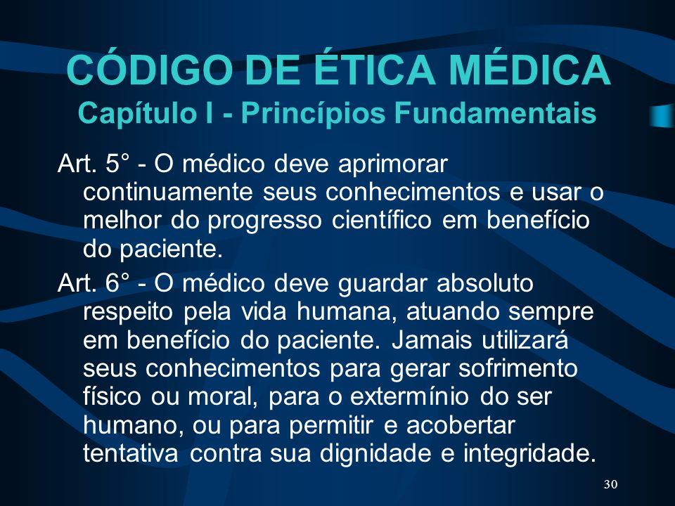 CÓDIGO DE ÉTICA MÉDICA Capítulo I - Princípios Fundamentais