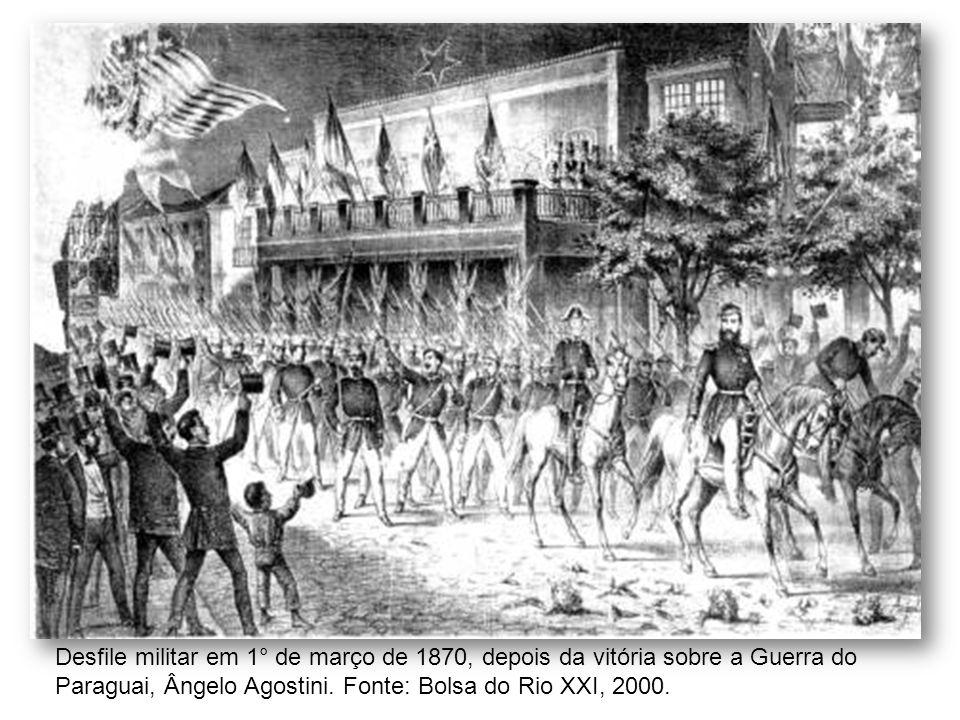 Desfile militar em 1° de março de 1870, depois da vitória sobre a Guerra do Paraguai, Ângelo Agostini.