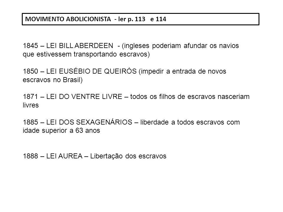 MOVIMENTO ABOLICIONISTA - ler p. 113 e 114