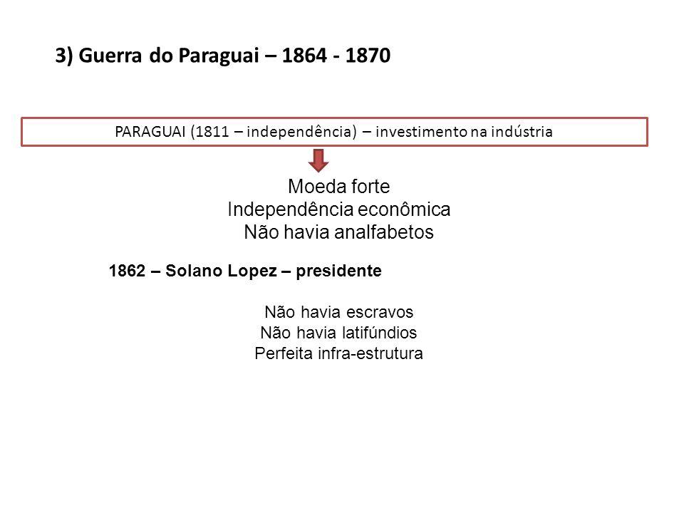 3) Guerra do Paraguai – 1864 - 1870 Moeda forte