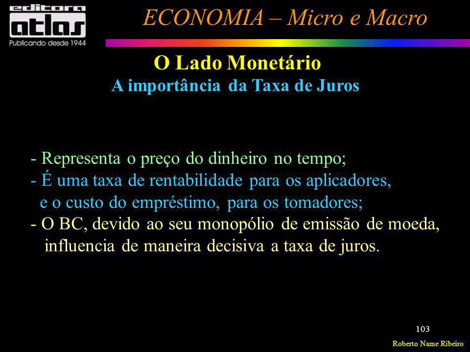 O Lado Monetário A importância da Taxa de Juros