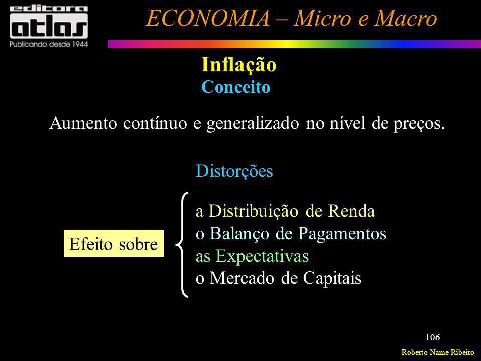 Inflação Conceito Aumento contínuo e generalizado no nível de preços.