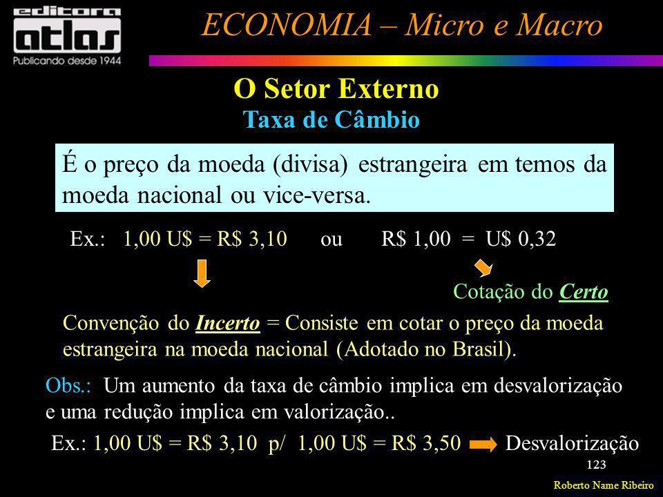 O Setor Externo Taxa de Câmbio