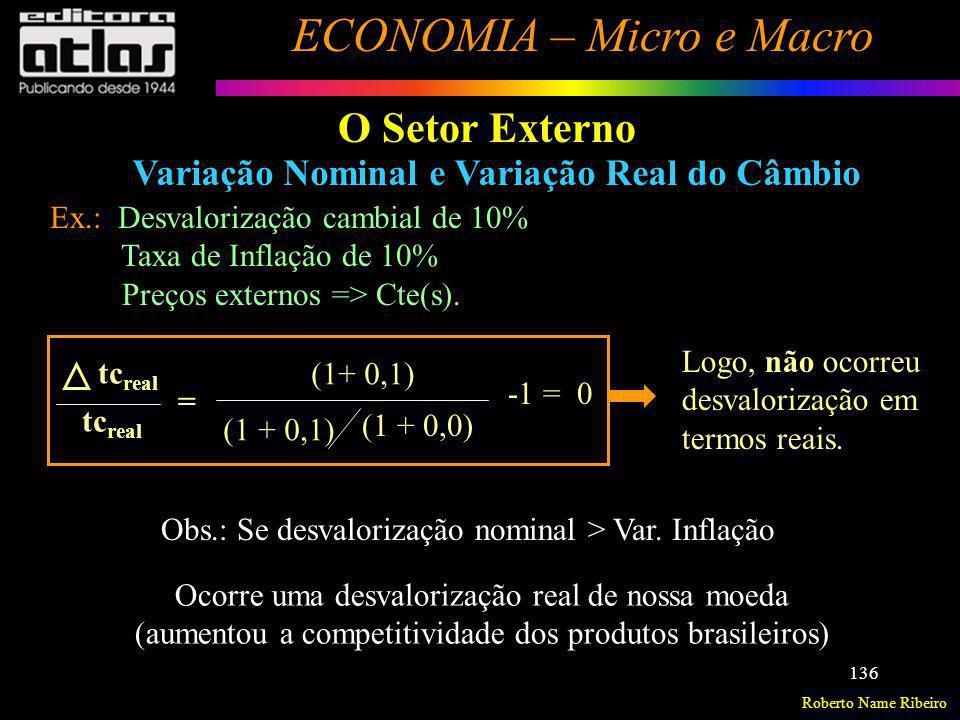 O Setor Externo Variação Nominal e Variação Real do Câmbio