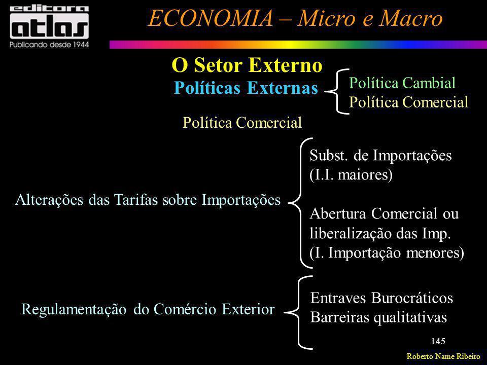 O Setor Externo Políticas Externas Política Cambial Política Comercial