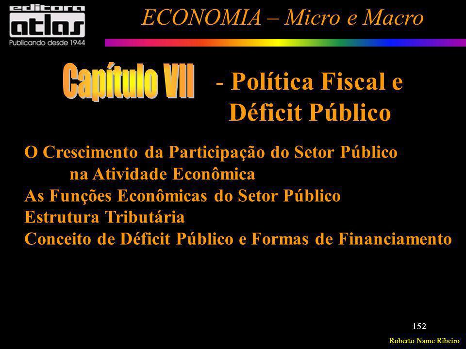 Capítulo VII Política Fiscal e Déficit Público
