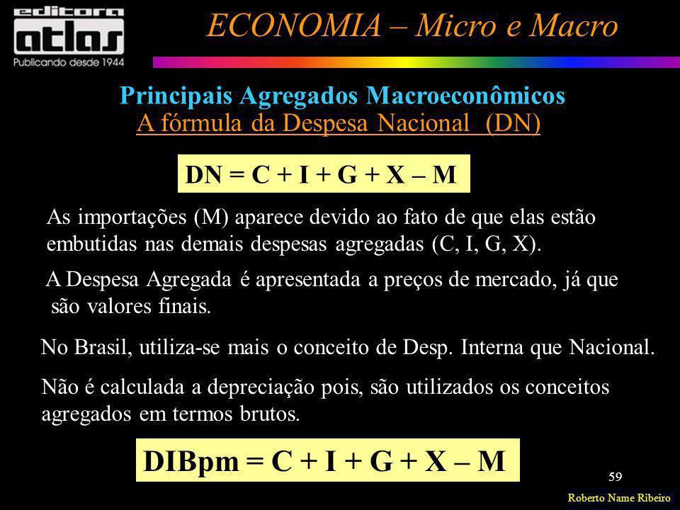 DIBpm = C + I + G + X – M Principais Agregados Macroeconômicos