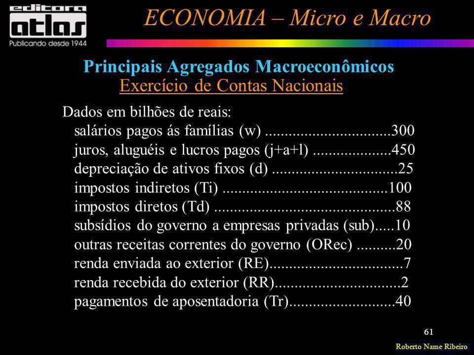 Principais Agregados Macroeconômicos Exercício de Contas Nacionais