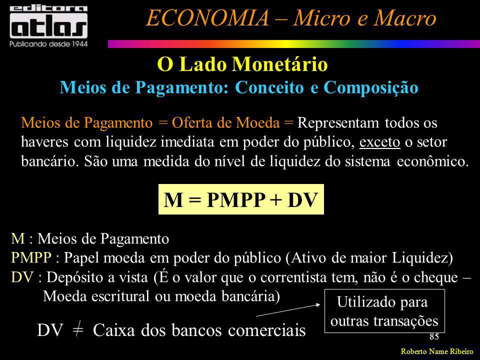 O Lado Monetário M = PMPP + DV
