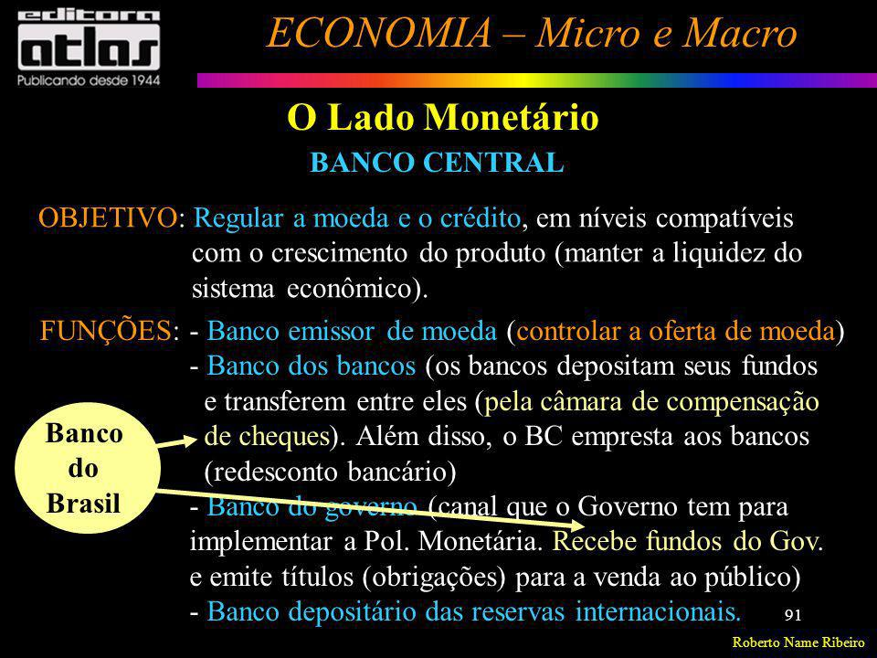O Lado Monetário BANCO CENTRAL