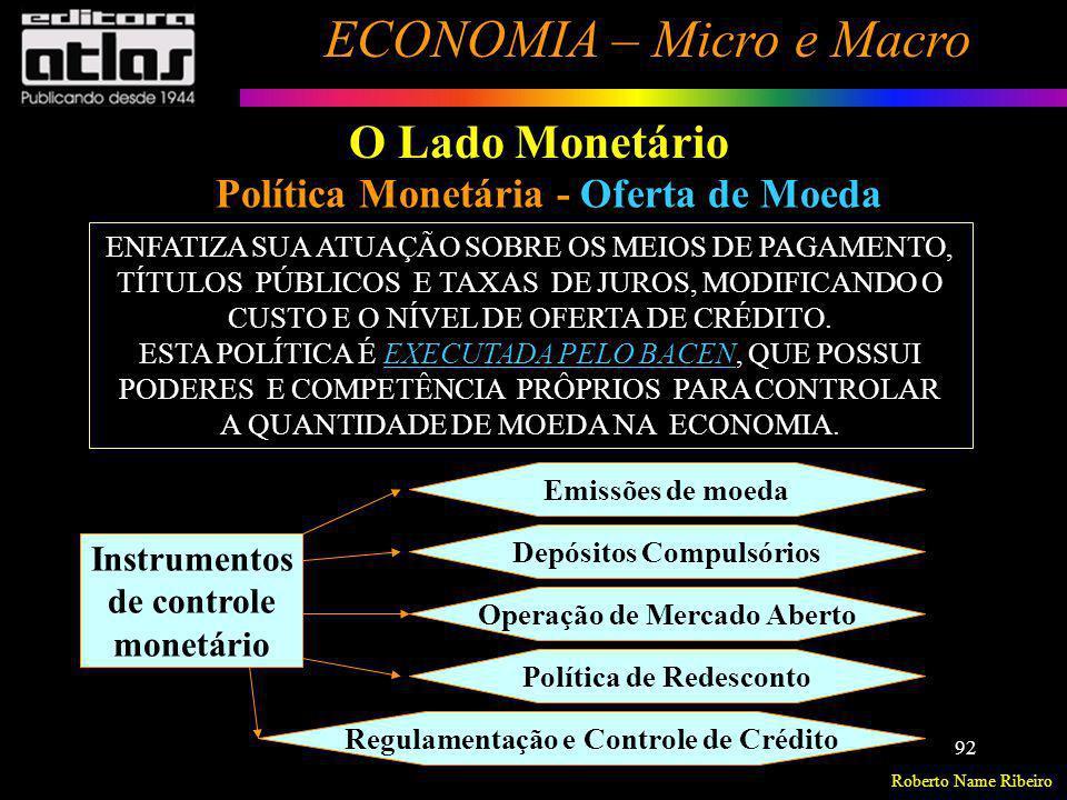 O Lado Monetário Política Monetária - Oferta de Moeda Instrumentos