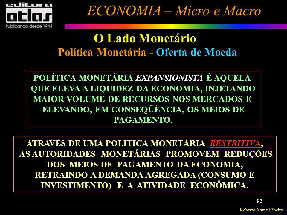 O Lado Monetário Política Monetária - Oferta de Moeda