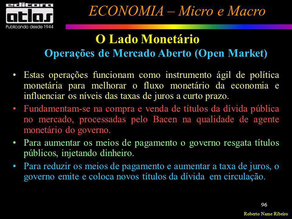 O Lado Monetário Operações de Mercado Aberto (Open Market)