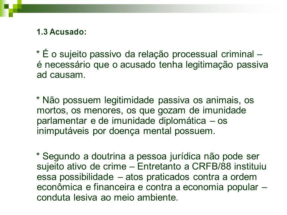 1.3 Acusado: * É o sujeito passivo da relação processual criminal – é necessário que o acusado tenha legitimação passiva ad causam.