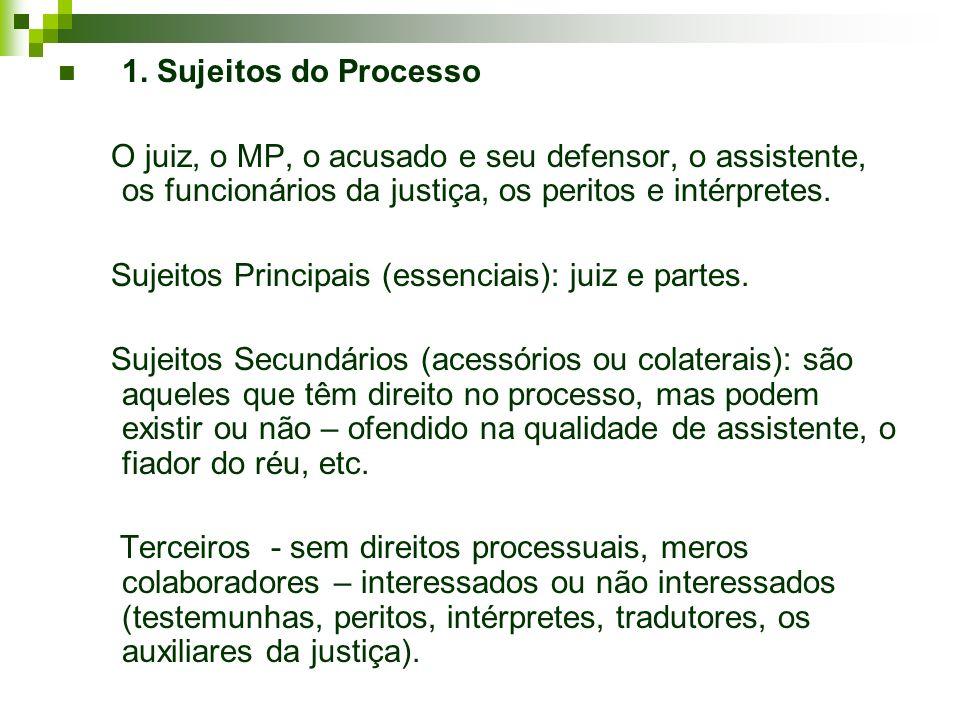 1. Sujeitos do Processo O juiz, o MP, o acusado e seu defensor, o assistente, os funcionários da justiça, os peritos e intérpretes.