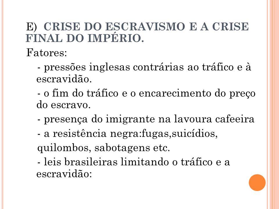 E) CRISE DO ESCRAVISMO E A CRISE FINAL DO IMPÉRIO