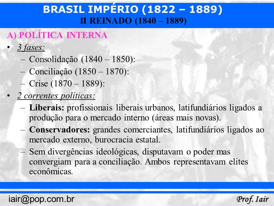 A) POLÍTICA INTERNA 3 fases: Consolidação (1840 – 1850): Conciliação (1850 – 1870): Crise (1870 – 1889):