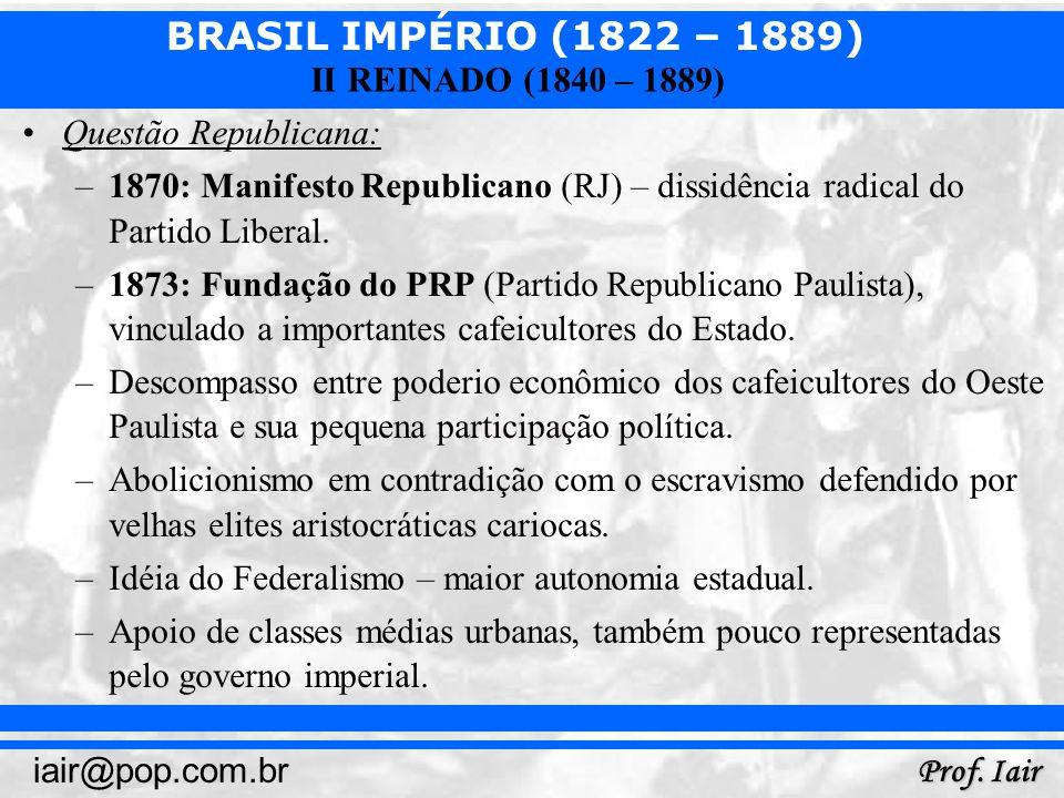 Questão Republicana: 1870: Manifesto Republicano (RJ) – dissidência radical do Partido Liberal.