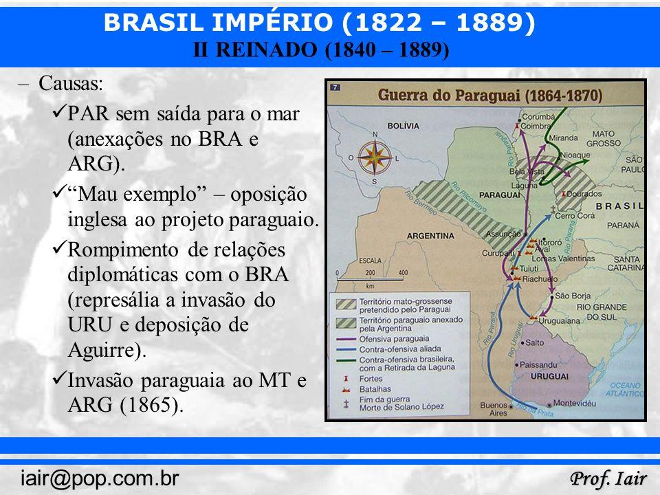 Causas:PAR sem saída para o mar (anexações no BRA e ARG). Mau exemplo – oposição inglesa ao projeto paraguaio.