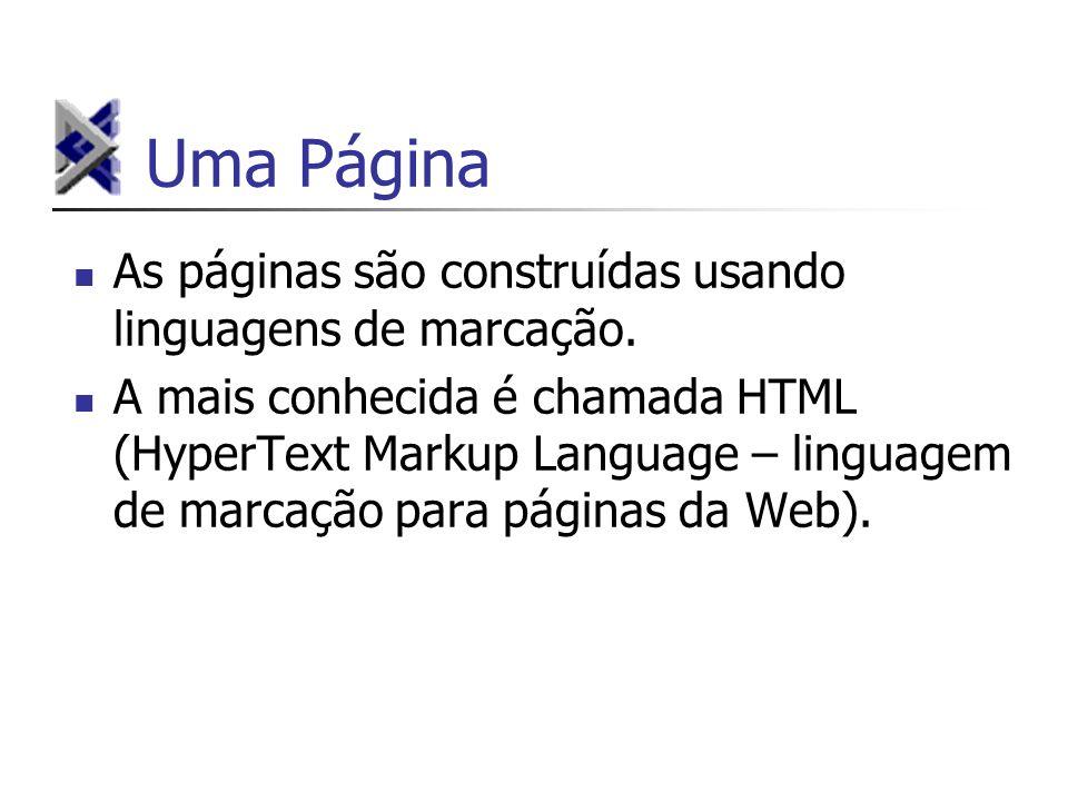 Uma Página As páginas são construídas usando linguagens de marcação.
