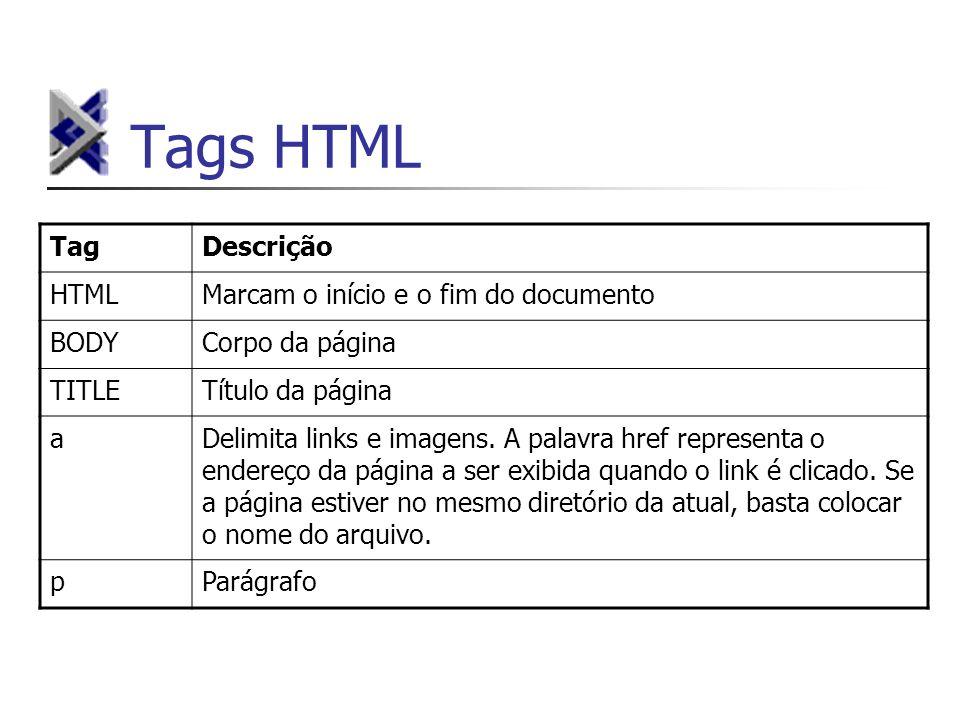 Tags HTML Tag Descrição HTML Marcam o início e o fim do documento BODY