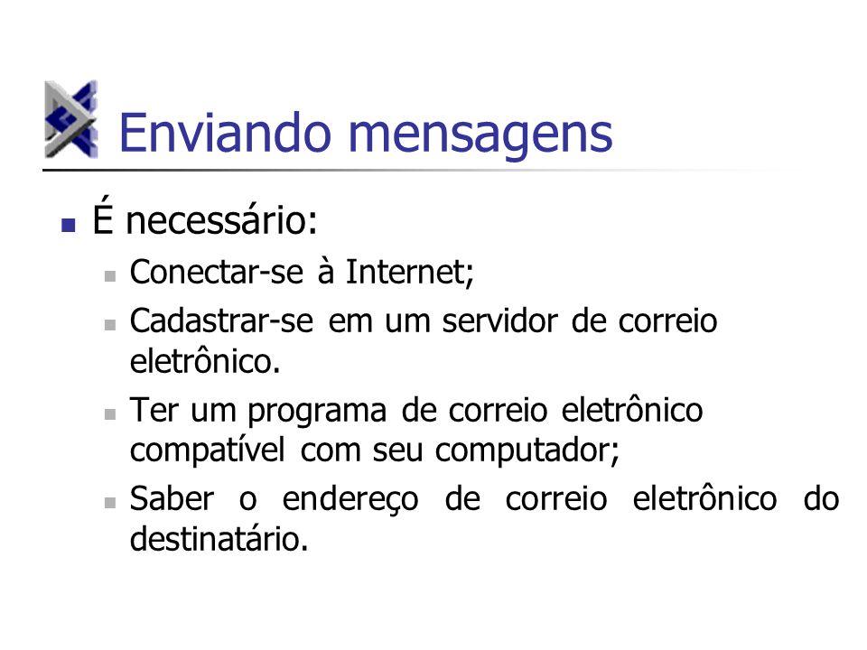 Enviando mensagens É necessário: Conectar-se à Internet;