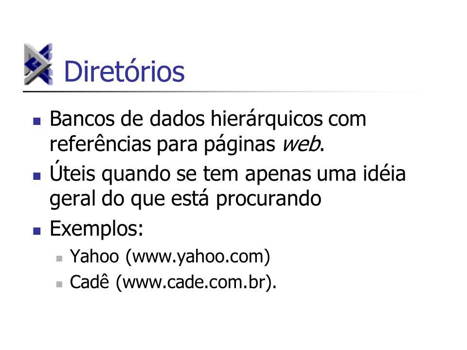 Diretórios Bancos de dados hierárquicos com referências para páginas web. Úteis quando se tem apenas uma idéia geral do que está procurando.