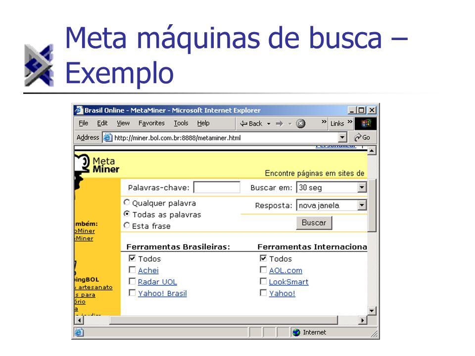 Meta máquinas de busca – Exemplo